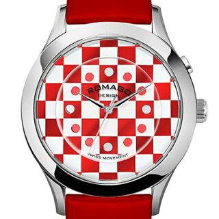 腕時計メンズ正規品ROMAGOロマゴチェックデザインアルミニウムケースミラー文字盤RM052-0314ST-RDWHメンズ腕時計