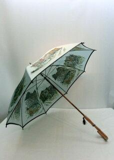 傘メンズ雨傘・長傘婦人甲州産ほぐし織馬車の風景柄紫外線防止加工付手開日本製ファッション雑貨コーデ雨具雨男性用