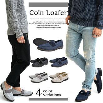 期間有限懶漢鞋男裝男式鞋皮革硬幣鞋男式鞋裝 * 福