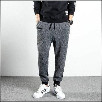 褲子男裝褲加長型開關單調的粗花呢慢跑褲別致清理運動男士休閒長褲