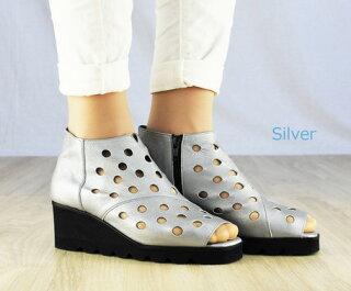 ブーツサンダルレディースレディース靴本革パンチングデザイン波型ソール日本製国産品手作りハンドメイド神戸製靴サンダル