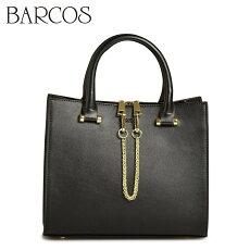 バルコスBARCOSハンドバッグチェーン付き2wayレザー本革バッグ鞄カバン黒
