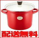 【送料無料】IH対応ホーロー加工シチューポット(寸胴鍋・カレー鍋)深型両手鍋、口径22cm