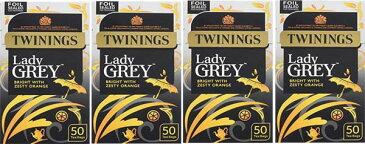 英国元詰トワイニング 紅茶レディグレイ50ティーバッグ x 4ヶ送料込但し北海道、沖縄離島は別途 賞味期限2020年4月少々荷崩れ