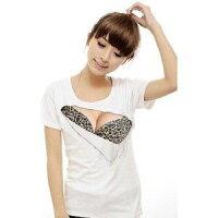 【送料無料】ネタTメンズドキドキ☆胸とブラが見えてる?セクシーおっぱいTシャツ3Dおもしろプリント巨乳Tシャツ豹柄Lサイズ