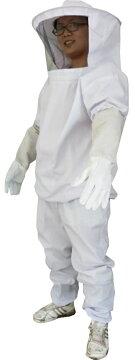 養蜂用防護服蜂防護服上下服フェイスネット手袋3点セット/蜂の巣害虫蜂駆除に