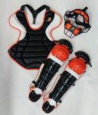 送料無料 ベルガード BELGARD 硬式野球用 キャッチャーセット オーダーカラー 4点セット ブラック×ホワイト×オレンジ 収容バッグ付き