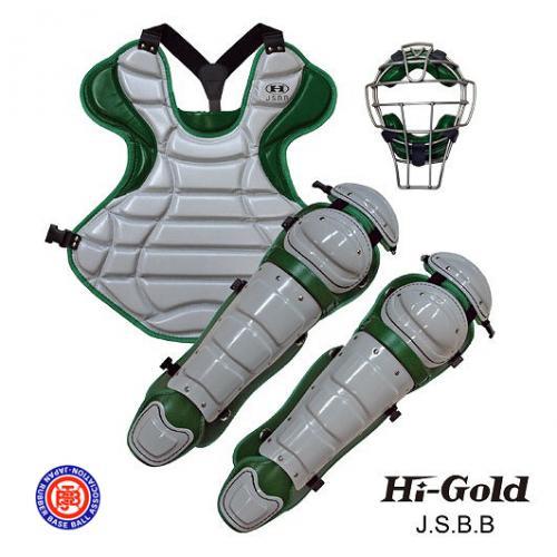JSBB公認 軟式野球用 キャッチャーセット HI-GOLD グレー×グリーン:ベースボールフィールド