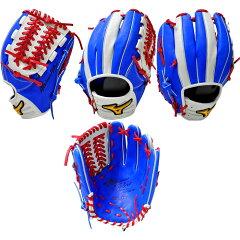 ミズノ(MIZUNO) ベースマン別注カラー ミズノプロオーダー 軟式内野手用グラブ ロイヤルブルー×シルバー+レッド