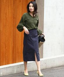 ポケット付きミモレ丈タイトスカート