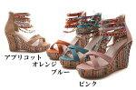【全4色】ウェッジソールビーズサンダル/靴レディースサイズ交換1回ok【送料無料】