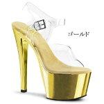 SKY-3087インチ(約18cm)クリアヒールハイヒールピンヒールミュール厚底サンダル/Pleaserプリーザーパーティードレス靴大きいサイズ【送料無料】