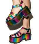 厚底スニーカー靴YRUCHARIOTIIRAINBOW約7.5cmヒールプラットフォーム厚底靴/YRUワイアールユーインポートシューズ【送料無料】