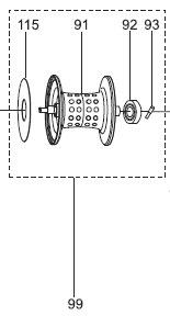 ●アブガルシアRevo(レボ)POWERCRANK6(右ハンドル)(1285257)用純正標準スプール(パーツID1302678)【キャンセル及び返品不可商品】【まとめ送料割】