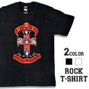 ロックTシャツ 半袖 Guns N' Roses Tシャツ ガンズアンドローゼズ GN'R バンドTシャツ メンズ レディース ロックT バンドT バンT ロゴ バンド ロゴT ダンス ミュージック ファッション ROCK ブラック ホワイト 黒 白 ヘヴィメタ コットン 綿 100% 春夏 夏物 おしゃれ