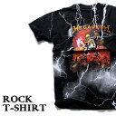 ロックTシャツ 半袖 稲妻 デザイン Megadeth Tシャツ メガデス サンダーボルト バンドTシャツ メンズ レディース ロックT バンドT バンT ロゴ 衣装 ロゴT ダンス ミュージック ファッション ROCK ブラック 黒 コットン 綿 100% 春夏 夏物 おしゃれ