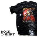 ロックTシャツ 半袖 宇宙 デザイン Megadeth Tシャツ メガデス スペースアート バンドTシャツ メンズ レディース ロックT バンドT バンT ロゴ 衣装 ロゴT ダンス ミュージック ファッション ROCK ブラック 黒 コットン 綿 100% 春夏 夏物 おしゃれ