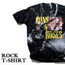 ロックTシャツ 半袖 稲妻 デザイン Guns N' Roses Tシャツ ガンズ・アンド・ローゼズ サンダーボルト バンドTシャツ メンズ レディース ロックT バンドT バンT ロゴ 衣装 ロゴT ダンス ミュージック ファッション ROCK ブラック 黒 コットン 綿 100% 春夏 夏物 おしゃれ