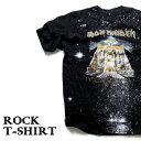 ロックTシャツ 半袖 宇宙 デザイン Iron Maiden Tシャツ アイアンメイデン スペースアート バンドTシャツ メンズ レディース ロックT バンドT バンT ロゴ 衣装 ロゴT ダンス ミュージック ファッション ROCK ブラック 黒 コットン 綿 100% 春夏 夏物 おしゃれ