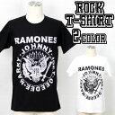 ロックTシャツ 半袖 Ramones Tシャツ ラモーンズ イーグル ロゴ バンドTシャツ メンズ レディース ロックT バンドT バンT 衣装 ロゴT ダンス ミュージック ファッション ROCK ブラック ホワイト 黒 白 コットン 綿 100% 春夏 夏物 おしゃれ