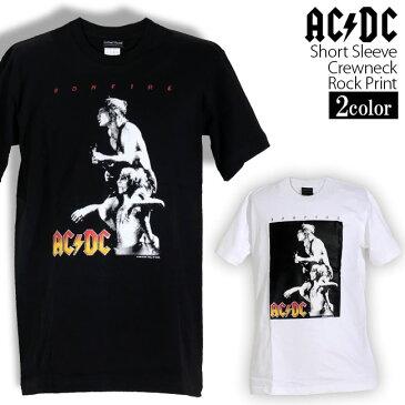ロックTシャツ 半袖 AC/DC Tシャツ エーシーディーシー バンドTシャツ メンズ レディース ロックT バンドT バンT ロゴ バンド ロゴT ダンス ミュージック ファッション ROCK ブラック ホワイト 黒 白 ヘヴィメタ コットン 綿 100% 春夏 夏物 おしゃれ