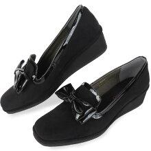 No.574252クロールバリエリボンスクエアトゥ軽量ウエッジパンプス(レディース婦人靴女性用柔らかい軽いシンプル痛くない通勤エナメル小さいサイズ22cmオペラオペラパンプス)10P05Sep15