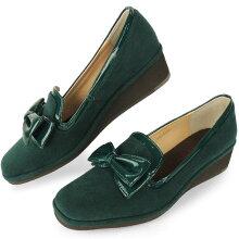No.574252クロールバリエリボンスクエアトゥ軽量ウエッジパンプス(レディース婦人靴女性用柔らかい軽いシンプル痛くない通勤エナメル小さいサイズ22cmオペラオペラパンプス)10P20Nov15