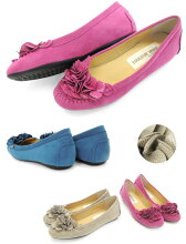 No.651201クロールバリエフラワーローヒールパンプス(レディース婦人靴女性用柔らかい軽いシンプル痛くないブラック歩きやすい履きやすいふわふわ花コサージュ)