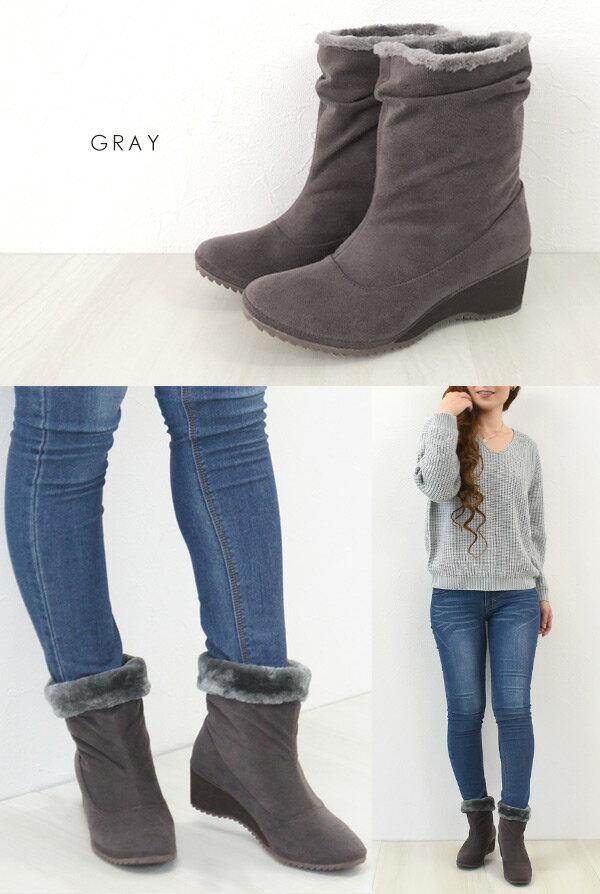 No.678258 クロールバリエ ブーツ セール 2WAY シャーリング 軽量 ブーツ(女性用 内側ボア ファー ミドルブーツ ショートブーツ 歩きやすい ブラック シンプル ウエッジ 柔らかい 暖かい)