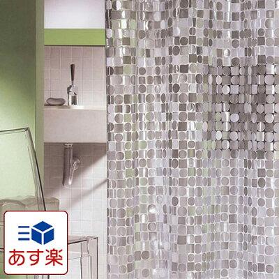 日本製 シャワーカーテン スパークリング 180×120cm 【あす楽対応】【お風呂カーテン 防水カーテン カビがはえにくい 半透明 おしゃれ オシャレ 仕切り 間仕切り 水はね 新生活 一人暮らし 女子 女の子 OL 海外旅行 海外生活 お手入れ簡単 ガラス調】