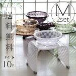 【送料無料】バスチェアM&洗面器M「チェッカー」2点セット