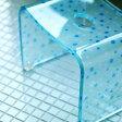 アクリル バスチェア「青水玉(ブルードット)」21型【小さい風呂椅子 バスチェア アクリル バスチェアー かわいい】