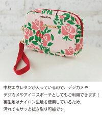 ハローキティ大人かわいいデジカメポーチmariemore【メール便無料】【日本製】メアリーモア薔薇柄♪アイコスポーチにも便利な持ち運び出来るハンドル付です♪MM-0038MK-PK