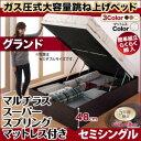 跳ね上げ式ベッド 簡単組立 らくらく搬入 ガス圧式 大容量 跳ね上げベ...