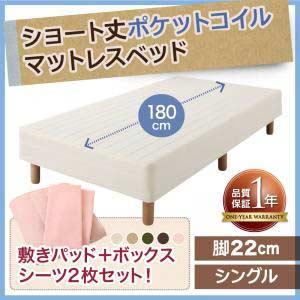 脚付きマットレスベッドショート丈ポケットコイルマットレスベッド脚22cmシングルサイズシングルベッドシングルベット(き)