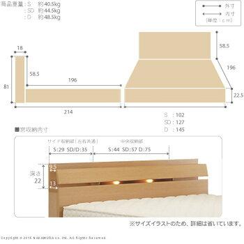 ライト・棚付きベッド〔ウォーレン〕ベッド下収納なしシングルベッドフレームのみ