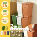 【ゴミ箱おしゃれスリムふた付きダストボックス分別【2個セット】コンテナスタイルII・IV東谷】