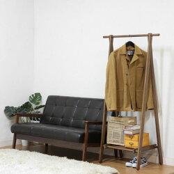 木製ハンガー6110-6-80(KI)ブラウン・ホワイト89251【D】【折りたたみハンガーコートハンガー棚付きハンガーラック洋服掛けオシャレ】【150704coupon500】
