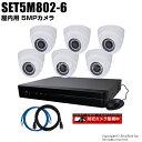 防犯カメラセット 5MP画質AHDカメラ6台と8chデジタルレコーダーセット(2TB内蔵)【SET5M802-6】