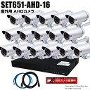 防犯カメラセット 210万画素 屋外 AHDカメラ16台と16chデジタルレコーダーセット(2TB内蔵)【SET651-AHD-16】