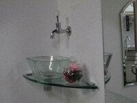 〔INK-047〕「陶器洗面ボウル+ステンレス台+プッシュ式排水栓」の3点セット【本体サイズ:W450*D450*H385】