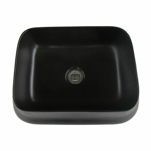 洗面ボウル おしゃれ 陶器 オンカウンター 置き型 四角 スクエア ブラック 幅46×奥行36×高14cm INK-0403365H