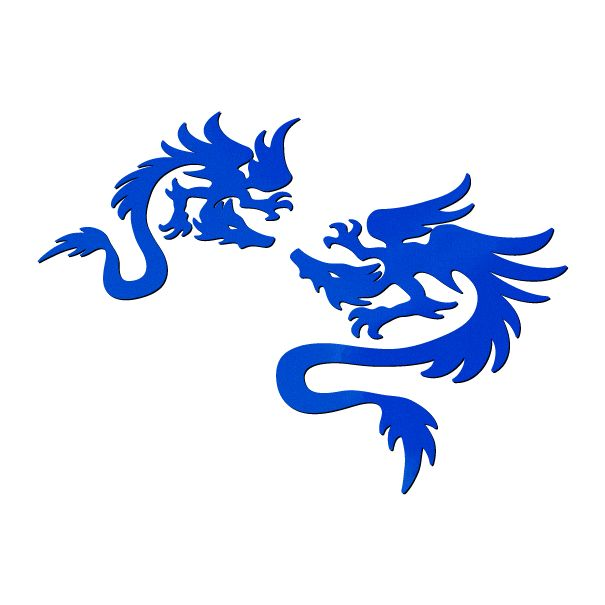 トライバル風カッティングステッカー ドラゴン A 左右セット 青(ブルー)画像