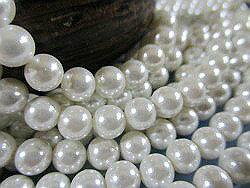 殼部分 (貝殼珠) 圓珍珠純白色 6 毫米珍珠殼部分珍珠珍珠項鍊珍珠耳環珍珠白殼珊瑚珠子串珠配件讓禮物小哥婚禮白色珍珠-珍珠