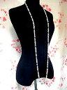 淡水パール ロングネックレス 淡水パールネックレス −30スモークトパーズホワイト パールネックレス