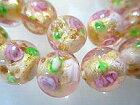 ガラスビーズビンクの薔薇(テーマはばらバラ薔薇)(金箔色)12mm−62キラキラ感クリスタル感いっぱい大人ロマンチックにイタリアンカラーで作ろペンダントネックレスベネチアン天然石ビーズ・スワロフスキーと
