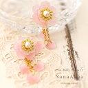 ナナアクヤの立体プラバンアクセサリー プラバンで作る花のピアス/イヤリング