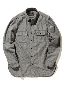 [Rakuten Fashion]BEAMS PLUS / ニュー ワーク シャンブレーシャツ BEAMS MEN ビームス メン シャツ/ブラウス 長袖シャツ ブラック ブルー【送料無料】