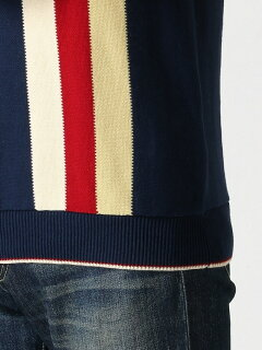Stripe Cotton Polo Sweater 11-02-0335-048: Navy