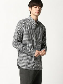 Twill Gingham Buttondown Shirt 11-11-3448-139: Black